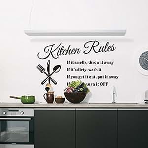 """Hot Popular """"Kitchen Rules"""" English Waterproof Wall Sticker"""