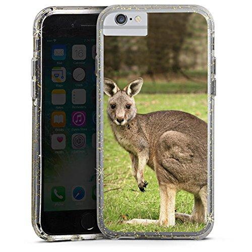 Apple iPhone 8 Bumper Hülle Bumper Case Glitzer Hülle Kangaroo Tier Animal Bumper Case Glitzer gold