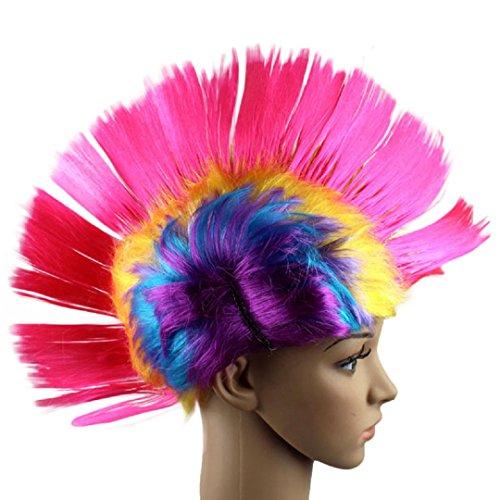 eval Masquerade Punk Mohawk Irokesenfrisur Frisur Cockscomb Wig, rosa (Verrückte Frisuren Für Halloween)