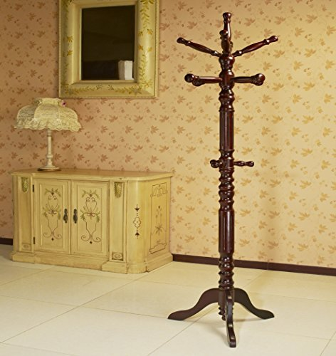 Frenchi Home Furnishing Traditional Spinning Top Wooden Coat Rack, Cherry  by Frenchi Home Furnishing