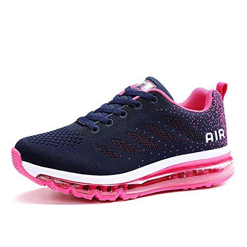 Monrinda Scarpe da Corsa Cuscino d'Aria Donna Uomo Fitness Scarpe da Ginnastica Corsa Running Sneakers Casual all'Aperto (41 EU, Prugna Blu)