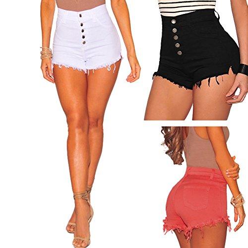 iBaste Shorts Damen Kurz Hose mit Quaste Pants Mini Hotpants Strandhose Sommerhosen Rot