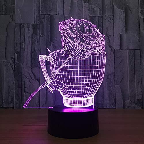 3D Nacht Lampe niedrige Lampe, Kaffeetassen und Rosen 7 Farbe visuelle Usb Schlafen Dekor Dekoration Geschenke Kinder führte Geschenk Geburtstag Nacht Lampe Kinder Lampen Dekor Acryl Illusion Licht