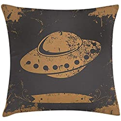 Modern Throw Pillow Cushion Cover, Grunge Stylized UFO Figure Alien Outer Space Cosmic Galaxy Futuristic Graphic Print, Decorative Square Accent Pillow Case, 18 X 18 Inches, Grey Tan