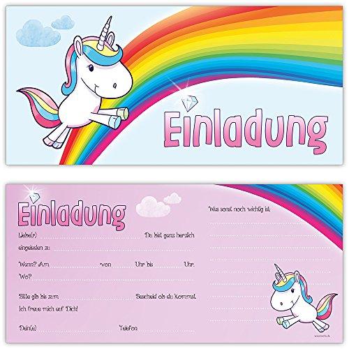 beriluDesign Einhorn Einladungskarten zum Kindergeburtstag Kinder Geburtstag-Einladungen Karten Feier Party Mädchen (12 Karten)