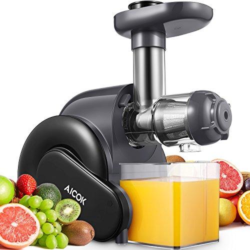 Licuadora Prensado en Frio, Aicok Licuadoras Para Verduras y Frutas con Función inversa, Slow Juicer con Motor Silencioso, Jarra y Limpieza Fácil con Cepillo, Alto en Nutrientes para Zumo de Frutas y Verduras