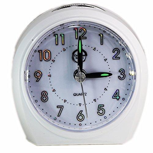 Reloj pequeño con alarma y luz nocturna, en color blanco