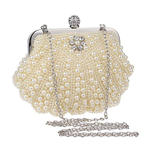 Cheerlife Damen Perle Clutch Abendtasche Hochzeit Handtasche Partei-Handtasche mit Kristall Champagne