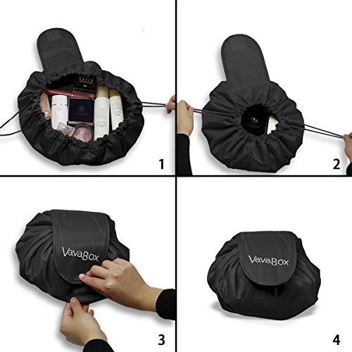 a68ba6bb7df44 Lazy Drawstring Make up Bag Portable Large Travel Cosmetic Bag Pouch ...