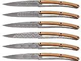 deejo Erwachsene Steakmesser, 6er Set, Stahl 420, titanbeschichtet, Olivenholz, Motiv Art Deco, Box Messer, Mehrfarbig, One Size