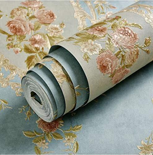 HNZZN 3D-Stereo-TV-Blume geprägte Tapeten rustikalen Non-Woven Wallpaper American ab,16306, 53 CM X 10 M
