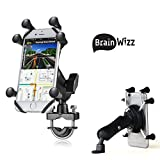 BrainWizz Ultimate Bike - Support Smartphone pour Moto / Scooter / Vélo - Fixation Sur le Guidon ou le Rétroviseur - Pour iiPhone X, Phone 8, iPhone 7, iPhone 6 et version Plus (5,5') et autres smartphones jusqu'à 6 pouces