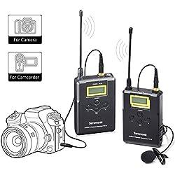 Système de microphone cravate sans fil, micro tour omnidirectionnel Saramonic UHF 16 canaux pour Canon 5D II/5D III, Canon 6D, Panasonic GH5/GH4, appareil photo reflex numérique et caméscope