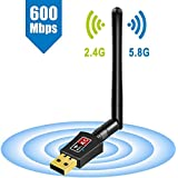 grogoo WiFi Dongle Internet de alta velocidad 2,4/5GHz de doble banda 600Mbps Wireless USB WiFi adaptador para PC/de sobremesa/portátil/Tablet, compatible con Windows 10/8/7/Vista/XP/2000, MAC OS X 10.4–10.11.4y 10.12.1