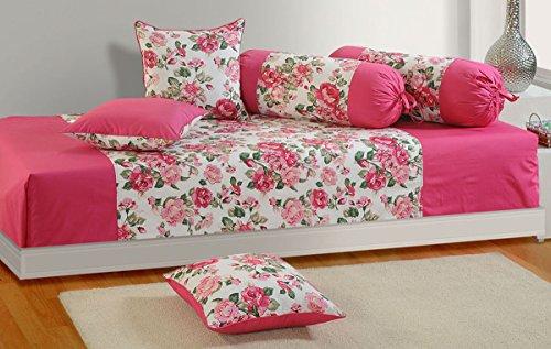 Yuga Pink Reine Baumwolle Modernes Design Floral und Blatt Druck Diwan Set Cover-Pack von 6 Pcs
