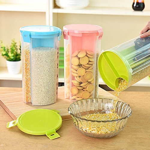 ON GATE Transparent Plastic Lock Food Storage Dispenser Airtight Container Jar for Cereals, Snacks, Pulses -3 section