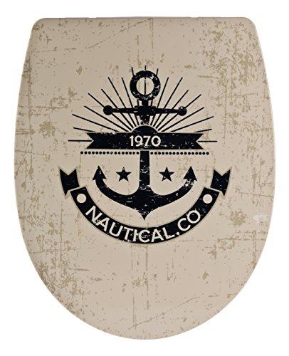 Sitzplatz 40376 4 Sitz Surfclub, Toilettensitz, WC-Brille aus Duroplast-Kunststoff, Soft-Close-Absenkautomatik, Klodeckel, Fast-Fix-Schnellbefestigung, Toilettendeckel,