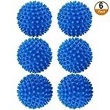 6 Pezzi Palle Asciugatrici Decontaminazione Anti-Winding Palla da bucato Riutilizzabili Resistenti Palle per Lavatrice e Asciugatrice Palle per Ammorbidente Naturale Antistatica Velocizza Asciugatura