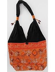Sac bandoulière, sac besace soie Thai Orange fleurs brodées bandeau Orange