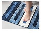 Schwarz Und Weiß Gestreifter Weicher Hochflor Saugfähig Antirutschmatte Teppich,Anwendbar Auf 45 * 65Cm Zu 50 * 80 Cm Bereich Bodenheizung Teppichunterlage Innen Und Außen Eingang Fußmatte,,Blue,50*80Cm