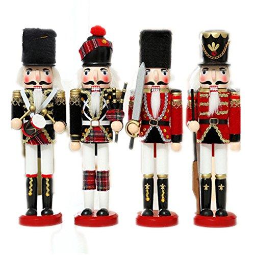 Set von 4England und Schottland-Nussknacker Soldat, Urlaub Weihnachten Ornament-Geschenke für 12cm hoch, holz, One Set of 4 (Vier Weihnachts-ornament)