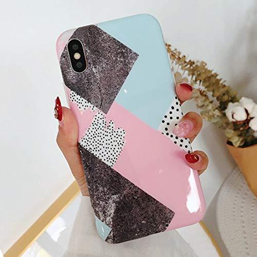XMDSJKGC Fundas Cajas Estuche De Teléfono Geométrico De Empalme De Mármol para iPhone X 6S 7 8 Plus Moda Lindo Círculo De Línea Colorida Punto De Onda De Contraportada, Style2, para iPhone 6 6S