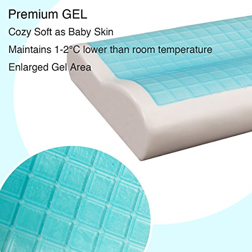 Memory Foam Cool Gel Pillow with Zipped Washable Pillow Cover by TAMPOR,Ergonomic Neck and Head Support Pillows with Temperature Sensitive Memory Foam,Hypoallergenic,Dustmite Free, 60x40x9/11 CM - 3