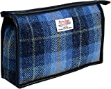 Vagabond Bags Harris Tweed Blue Check Holdall Bag Kulturtasche, 24 cm, Blau (Mid Blue)