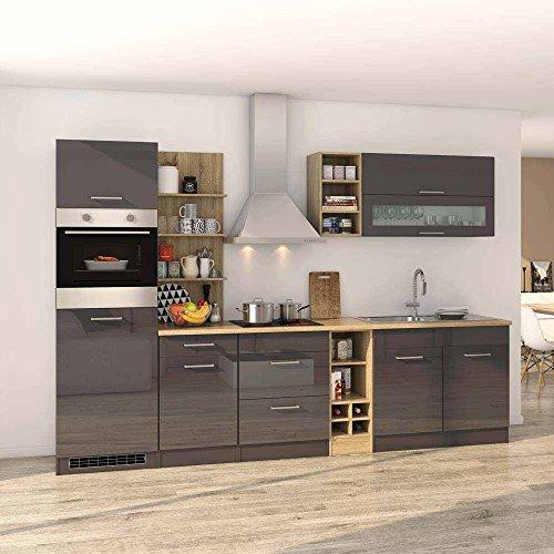 Pharao24 Hochglanz Küchenblock in Grau Eiche Sonoma mit Elektrogeräten