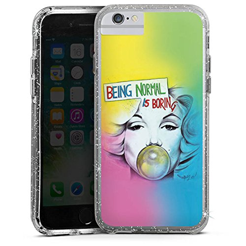Apple iPhone X Bumper Hülle Bumper Case Glitzer Hülle Marilyn Monroe Star Sayings Bumper Case Glitzer silber