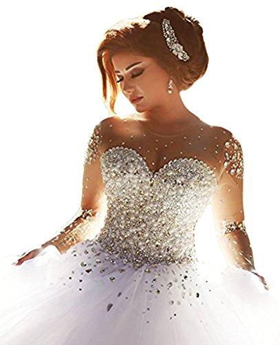 Carnivalprom Damen Prinzessin Hochzeitskleider Strass Perlstickerei Brautkleider Brautmode...