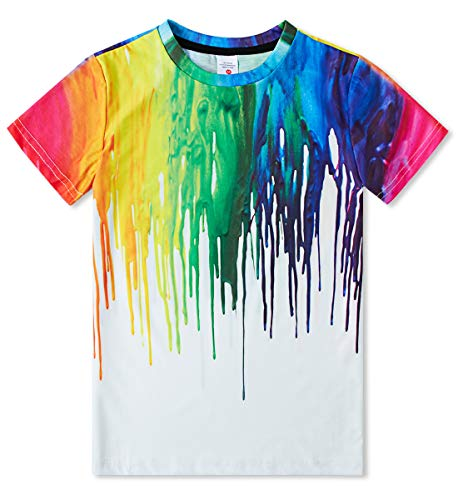 Idgreatim Kurzarm T-Shirts Teens Mädchen Jungen 3D Bunte Tintendruck T-Shirts 10-12T T-shirts Für Teens
