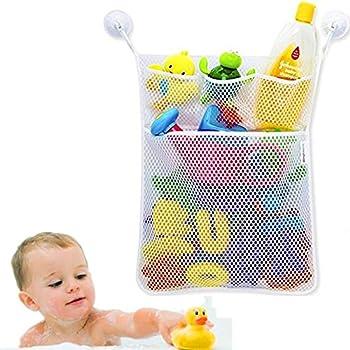 Cudon - Filet de rangement à jouetspour le bain - Avec trois crochets ventouses à forte adhérence