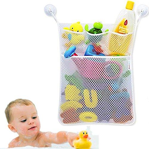 Cudon Baby Badespielzeug Storage Mesh Tasche waschbar Shampoo Dusche Net Organizer mit 3 Saugnäpfe, weiß (Mesh-waschlappen)
