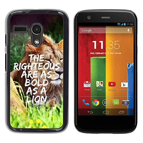 e Bild Hart Handy SchutzHülle Hülle Schale Case Cover Etui für MOTOROLA MOTO G ( 1st Gen only ) - PROVERB 28:1 - THE RIGHTEOUS ARE AS BOLD AS A LION ()