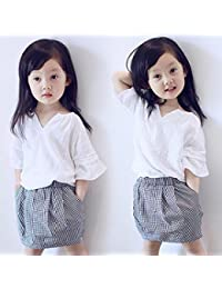 Vestidos niñas, Switchali Niños Bebé Niña Verano moda algodón blusas suave manga corta camisa + Tartán mini falda Conjunto de ropa de fiesta para chica casual linda blusa barato