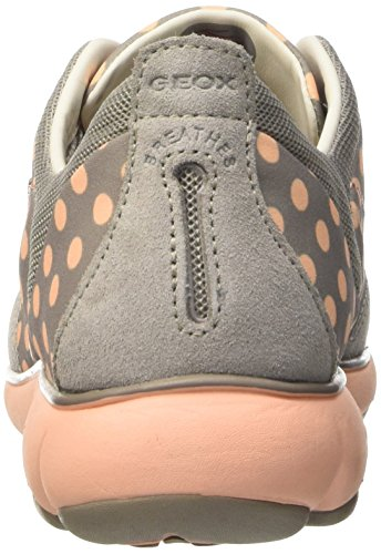 Geox Damen D Nebula C Sneakers Grey (Light Grey/Peach)