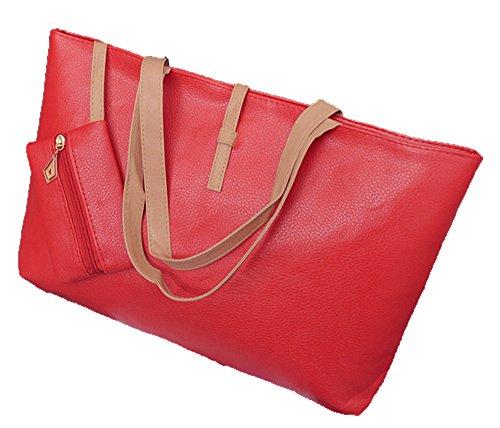 1 x Grandi Dimensioni Tote –Signore Hobos del Progettista di Moda / Borsetta / Borsa a Tracolla con una Tasca con Cerniera - Rosa Rossa Rosso
