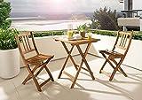 SAM® Salon de balcon, 3 pièces, meubles de jardin en bois d'acacia, 1 x table + 2 x chaises pliantes, huilé, pliable, ensemble de fauteuils en bois d'acacia, certifié FSC® 100 %