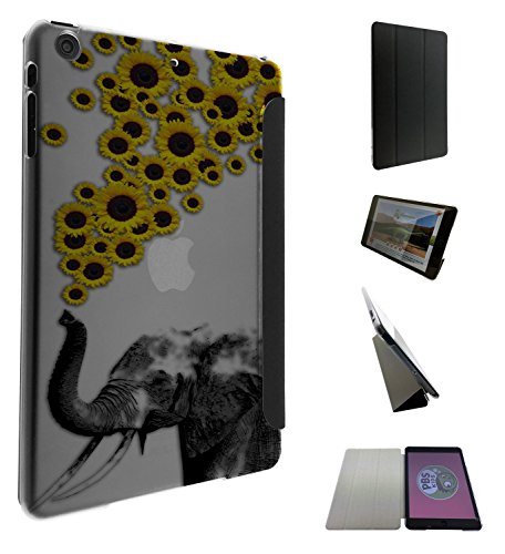 c0078 - Funky Aztec elephant Floral Sunflowers Trunk Design Apple ipad Air 2 - 2014/2015 Fashion Trend Funky Smart Hartplastik & TPU Leder Schutzhülle Hülle Flip Cover Book Wallet Case - Schwarz & Clear (Hartplastik-trunks)