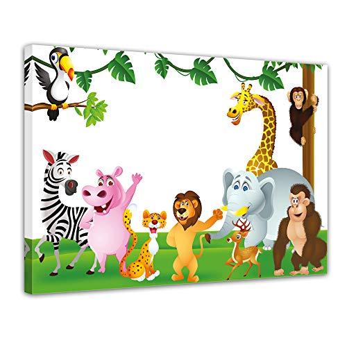 (Kunstdruck - Kinderbild Tiere Cartoon III - Bild auf Leinwand - 80x60 cm einteilig - Leinwandbilder - Kinder - freundliche Dschungeltiere)