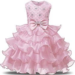 NNJXD Robe de Filles Gamins Volants Dentelles Robes de Mariage pour Les Parties Taille(90) Rose pour Les Filles de 12-24 Mois