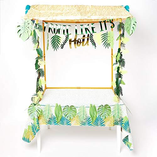 Party Delights Tropisches Premium Tiki-Bar Set - Sommer Hawaii Bar Hütte & Deko