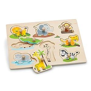 New Classic Toys-10538 Nuevos Clásicos Juguetes-2042924-Puzzle con Marco con Botones-Safari, Color Madera (2042924)