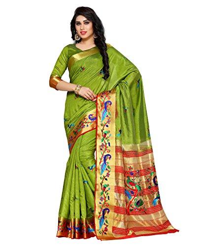 MIMOSA Tassar Silk Saree With Blouse Piece(4156-2085-Am-15-Olv-Mrn_Olive Free Size)