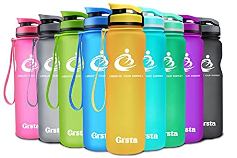 Grsta Sport Water Bottle 1L(1000ml), Wide Mouth Leak Proof BPA Free Eco-Friendly Plastic Drink Beverage Best Water Bottles for Travel/Outdoor/Running/Hiking/Camping/Gym w Flip Top Lid & Filter Opens with
