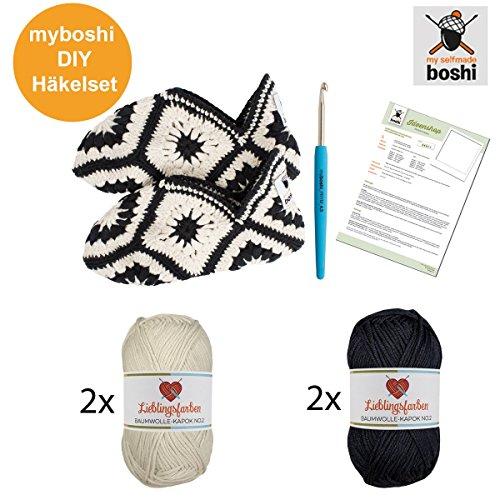 Myboshi-Hkelset-Hausschuhe-im-Granny-Square-Stil-Hkelanleitung-Hkelnadel-4x-Hkelgarn-85Baumwolle-15-Kapok-Farben-Elfenbein-Schwarz