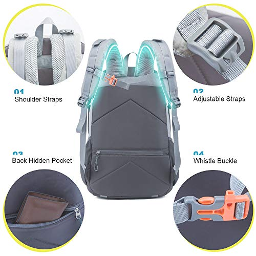 51Z60cM3v6L. SS500  - Casual Backpack, Water Resistant Slim Lightweight Laptop Rucksack For Men/Women, Large Travel/Hiking/Cycling Daypacks With Earphone Hole, College/High School Bags For Boys/Girls -32L, Grey