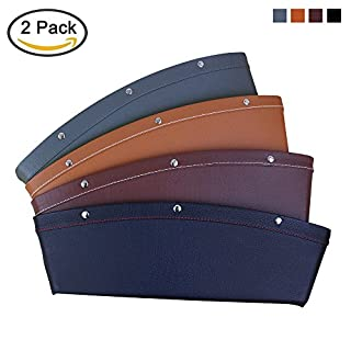 AK KYC 2 Pack Car Pocket Organizer Seat Side Caddy Console Car Catcher Gap Filler PU Leather 4 Color Interior Car Accessories, (BROWN)