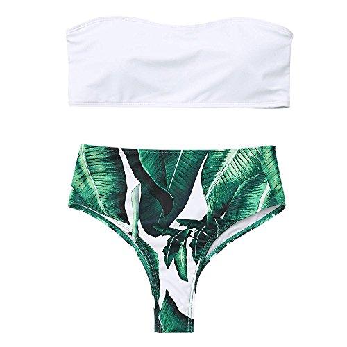 Zaful Donna Motivo a Foglie di Palma in Due Pezzi di Bikini Imbottito Costume da Bagno a Vita Alta Abbigliamento Estivo Beachwear Nessuna Tracolla (Bianco, S)